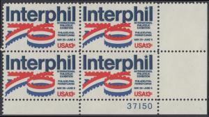 """USA Michel 1202 / Scott 1632 postfrisch PLATEBLOCK ECKRAND unten rechts m/ Platten-# 37150 - Internationale Briefmarkenausstellung """"Interphil"""", Philadelphia"""