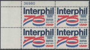 """USA Michel 1202 / Scott 1632 postfrisch PLATEBLOCK ECKRAND oben links m/ Platten-# 37980 - Internationale Briefmarkenausstellung """"Interphil"""", Philadelphia"""