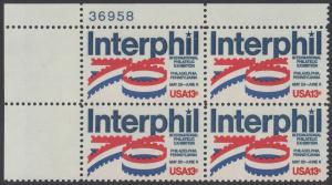 """USA Michel 1202 / Scott 1632 postfrisch PLATEBLOCK ECKRAND oben links m/ Platten-# 37958 - Internationale Briefmarkenausstellung """"Interphil"""", Philadelphia"""