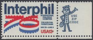 """USA Michel 1202 / Scott 1632 postfrisch EINZELMARKE ECKRAND unten rechts m/ ZIP-Emblem - Internationale Briefmarkenausstellung """"Interphil"""", Philadelphia"""