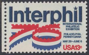 """USA Michel 1202 / Scott 1632 postfrisch EINZELMARKE RAND links (a1) - Internationale Briefmarkenausstellung """"Interphil"""", Philadelphia"""