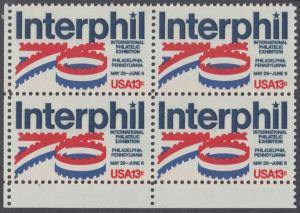"""USA Michel 1202 / Scott 1632 postfrisch BLOCK ECKRAND unten links - Internationale Briefmarkenausstellung """"Interphil"""", Philadelphia"""