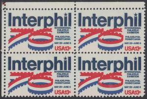 "USA Michel 1202 / Scott 1632 postfrisch BLOCK ECKRAND oben links - Internationale Briefmarkenausstellung ""Interphil"", Philadelphia"