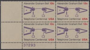 USA Michel 1253 / Scott 1683 postfrisch PLATEBLOCK ECKRAND unten links m/ Platten-# 37293 - 100 Jahre Telefon, Schemazeichnung des Telefons von Alexander Graham Bell