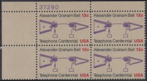 USA Michel 1253 / Scott 1683 postfrisch PLATEBLOCK ECKRAND oben links m/ Platten-# 37290 - 100 Jahre Telefon, Schemazeichnung des Telefons von Alexander Graham Bell