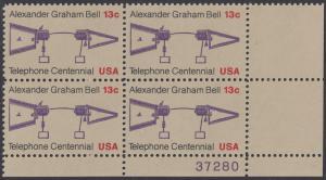 USA Michel 1253 / Scott 1683 postfrisch PLATEBLOCK ECKRAND unten rechts m/ Platten-# 37280 - 100 Jahre Telefon, Schemazeichnung des Telefons von Alexander Graham Bell
