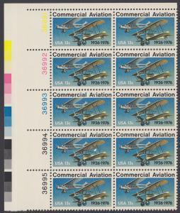 USA Michel 1254 / Scott 1684 postfrisch vert.PLATEBLOCK(10) ECKRAND oben links m/ Platten-# 36991 - 50 Jahre kommerzieller Luftpostdienst; Flugzeuge der Typen Stout Air Pullman und Laird Swallow