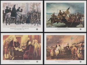 USA Michel 1257-1276 / Scott 1685-1689 postfrisch SATZ(4) BLOCKS 12-15 - Unabhängikeit der USA: George Washington bei der Truppeninspektion in Valley Forge