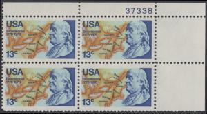 USA Michel 1277 / Scott 1690 postfrisch PLATEBLOCK ECKRAND oben rechts m/ Platten-# 37338 (a1) - Unabhängigkeit der Vereinigten Staaten von Amerika: Benjamin Franklin (1706-1790), 1. Generalpostmeister für Kanada und die USA, Politiker; Landkarte von