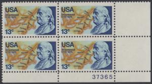 USA Michel 1277 / Scott 1690 postfrisch PLATEBLOCK ECKRAND unten rechts m/ Platten-# 37365 - Unabhängigkeit der Vereinigten Staaten von Amerika: Benjamin Franklin (1706-1790), 1. Generalpostmeister für Kanada und die USA, Politiker; Landkarte von Nor