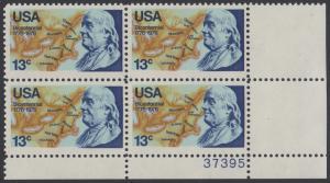 USA Michel 1277 / Scott 1690 postfrisch PLATEBLOCK ECKRAND unten rechts m/ Platten-# 37395 - Unabhängigkeit der Vereinigten Staaten von Amerika: Benjamin Franklin (1706-1790), 1. Generalpostmeister für Kanada und die USA, Politiker; Landkarte von Norda...
