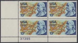 USA Michel 1277 / Scott 1690 postfrisch PLATEBLOCK ECKRAND unten links m/ Platten-# 37395 - Unabhängigkeit der Vereinigten Staaten von Amerika: Benjamin Franklin (1706-1790), 1. Generalpostmeister für Kanada und die USA, Politiker; Landkarte von Nordam...