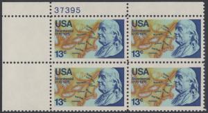 USA Michel 1277 / Scott 1690 postfrisch PLATEBLOCK ECKRAND oben links m/ Platten-# 37395 - Unabhängigkeit der Vereinigten Staaten von Amerika: Benjamin Franklin (1706-1790), 1. Generalpostmeister für Kanada und die USA, Politiker; Landkarte von Nordame...