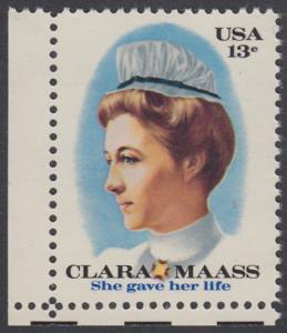 USA Michel 1286 / Scott 1699 postfrisch EINZELMARKE ECKRAND unten links - Clara Maass, Krankenschwester