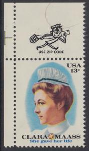 USA Michel 1286 / Scott 1699 postfrisch EINZELMARKE ECKRAND oben links m/ ZIP-Emblem - Clara Maass, Krankenschwester