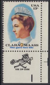 USA Michel 1286 / Scott 1699 postfrisch EINZELMARKE ECKRAND unten rechts m/ ZIP-Emblem - Clara Maass, Krankenschwester