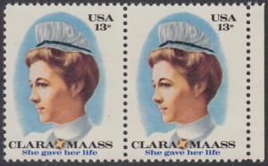 USA Michel 1286 / Scott 1699 postfrisch horiz.PAAR RAND rechts - Clara Maass, Krankenschwester