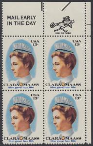 USA Michel 1286 / Scott 1699 postfrisch ZIP-BLOCK (ur) - Clara Maass, Krankenschwester