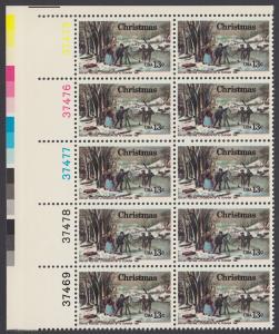 USA Michel 1288 / Scott 1702 postfrisch vert.PLATEBLOCK(10) ECKRAND oben links m/ Platten-# 37475 - Weihnachten; Winterfreuden