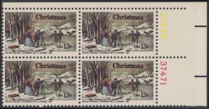 USA Michel 1288 / Scott 1702 postfrisch BLOCK ECKRAND oben rechts m/ Platten-# 37470 - Weihnachten; Winterfreuden