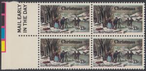 USA Michel 1288 / Scott 1702 postfrisch BLOCK RÄNDER links m/ Mail Early-Vermerk - Weihnachten; Winterfreuden