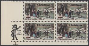 USA Michel 1288 / Scott 1702 postfrisch ZIP-BLOCK (ll) - Weihnachten; Winterfreuden