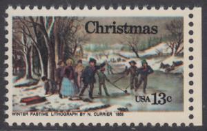 USA Michel 1288 / Scott 1702 postfrisch EINZELMARKE RAND rechts - Weihnachten; Winterfreuden