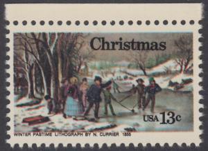 USA Michel 1288 / Scott 1702 postfrisch EINZELMARKE RAND oben - Weihnachten; Winterfreuden