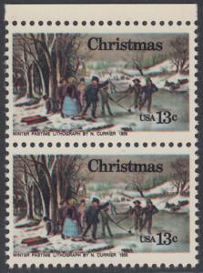 USA Michel 1288 / Scott 1702 postfrisch vert.PAAR RAND oben - Weihnachten; Winterfreuden