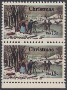 USA Michel 1288 / Scott 1702 postfrisch vert.PAAR RAND unten - Weihnachten; Winterfreuden