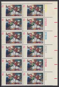 USA Michel 1289 / Scott 1701 postfrisch vert.PLATEBLOCK(12) ECKRAND oben rechts m/ Platten-# 37504 - Weihnachten; Geburt Christi