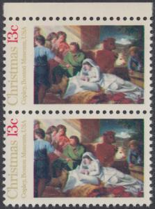 USA Michel 1289 / Scott 1701 postfrisch vert.PAAR RAND oben - Weihnachten; Geburt Christi