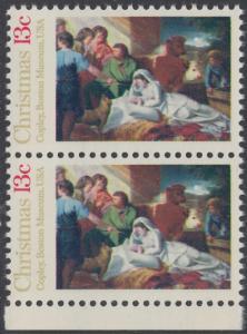 USA Michel 1289 / Scott 1701 postfrisch vert.PAAR RAND unten - Weihnachten; Geburt Christi