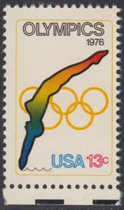 USA Michel 1284 / Scott 1695 postfrisch EINZELMARKE RAND unten - Olympische Spiele 1976, Innsbruck und Montreal