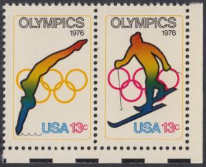USA Michel 1284-1285 / Scott 1695-1696 postfrisch horiz.PAAR ECKRAND unten rechts - Olympische Spiele 1976, Innsbruck und Montreal