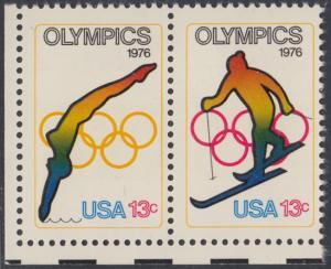 USA Michel 1284-1285 / Scott 1695-1696 postfrisch horiz.PAAR ECKRAND unten links - Olympische Spiele 1976, Innsbruck und Montreal
