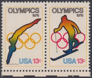 USA Michel 1284-1285 / Scott 1695-1696 postfrisch horiz.PAAR RÄNDER unten - Olympische Spiele 1976, Innsbruck und Montreal