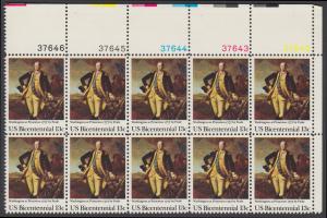 USA Michel 1291 / Scott 1704 postfrisch horiz.PLATEBLOCK(10) ECKRAND oben rechts m/ Platten-# 37642 - Unabhängigkeit der Vereinigten Staaten von Amerika (1976): Schlacht von Princeton, General George Washington