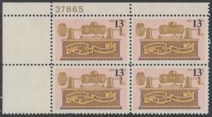 USA Michel 1293 / Scott 1705 postfrisch PLATEBLOCK ECKRAND oben links m/ Platten-# 37865 - 100. Jahrestag der ersten Tonaufnahme: Phonograph