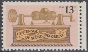 USA Michel 1293 / Scott 1705 postfrisch EINZELMARKE RAND rechts - 100. Jahrestag der ersten Tonaufnahme: Phonograph
