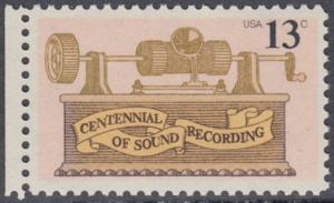 USA Michel 1293 / Scott 1705 postfrisch EINZELMARKE RAND links - 100. Jahrestag der ersten Tonaufnahme: Phonograph