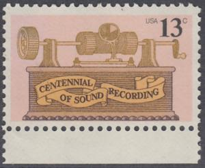 USA Michel 1293 / Scott 1705 postfrisch EINZELMARKE RAND unten - 100. Jahrestag der ersten Tonaufnahme: Phonograph