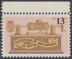 USA Michel 1293 / Scott 1705 postfrisch EINZELMARKE RAND oben - 100. Jahrestag der ersten Tonaufnahme: Phonograph