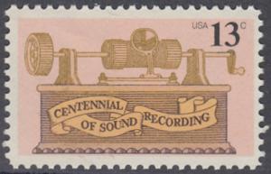 USA Michel 1293 / Scott 1705 postfrisch EINZELMARKE - 100. Jahrestag der ersten Tonaufnahme: Phonograph