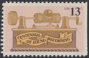 USA Michel 1293 / Scott 1705 postfrisch EINZELMARKE (rechts ungezähnt) - 100. Jahrestag der ersten Tonaufnahme: Phonograph