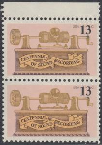 USA Michel 1293 / Scott 1705 postfrisch vert.PAAR RAND oben - 100. Jahrestag der ersten Tonaufnahme: Phonograph