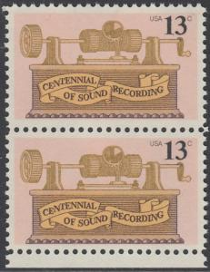 USA Michel 1293 / Scott 1705 postfrisch vert.PAAR RAND unten - 100. Jahrestag der ersten Tonaufnahme: Phonograph