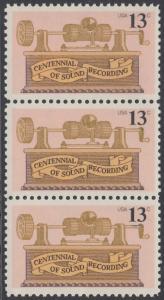 USA Michel 1293 / Scott 1705 postfrisch vert.STRIP(3) - 100. Jahrestag der ersten Tonaufnahme: Phonograph