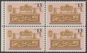 USA Michel 1293 / Scott 1705 postfrisch BLOCK RÄNDER links  - 100. Jahrestag der ersten Tonaufnahme: Phonograph