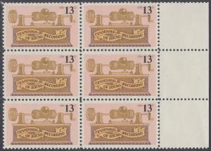 USA Michel 1293 / Scott 1705 postfrisch vert.BLOCK(6) RÄNDER rechts - 100. Jahrestag der ersten Tonaufnahme: Phonograph